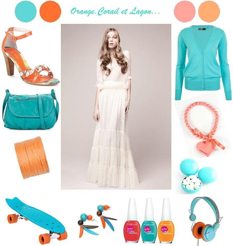 corail turquoise orange