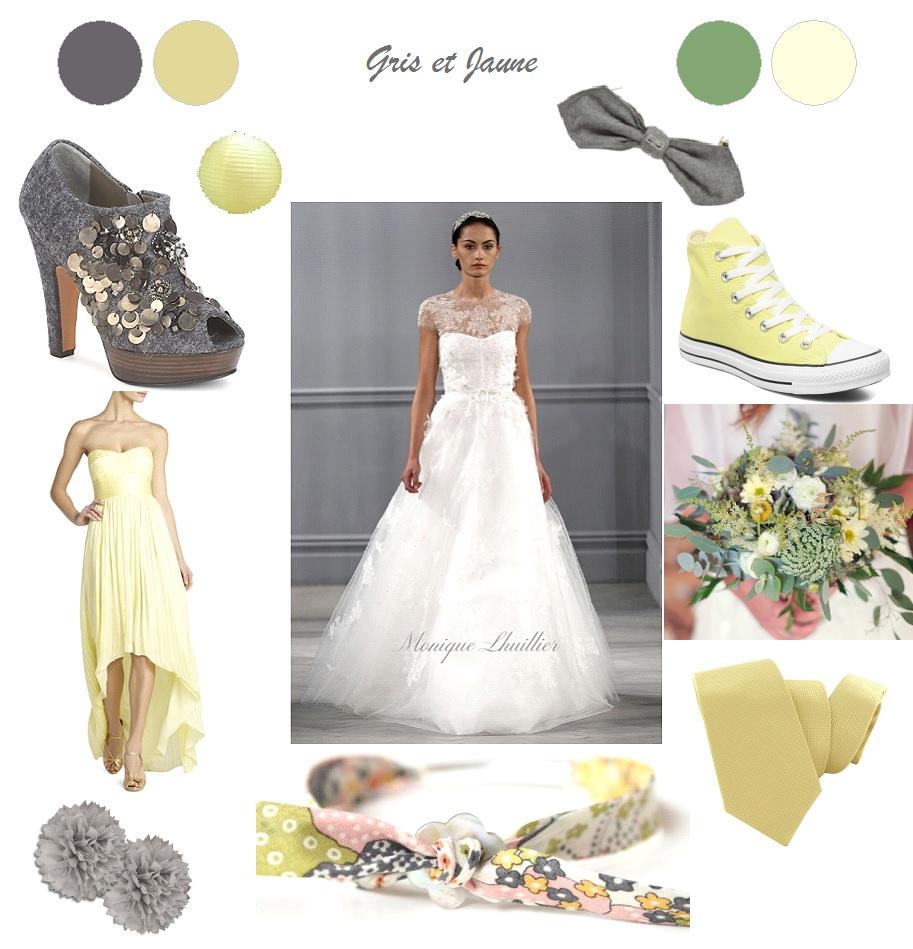 décoration mariage jaune gris